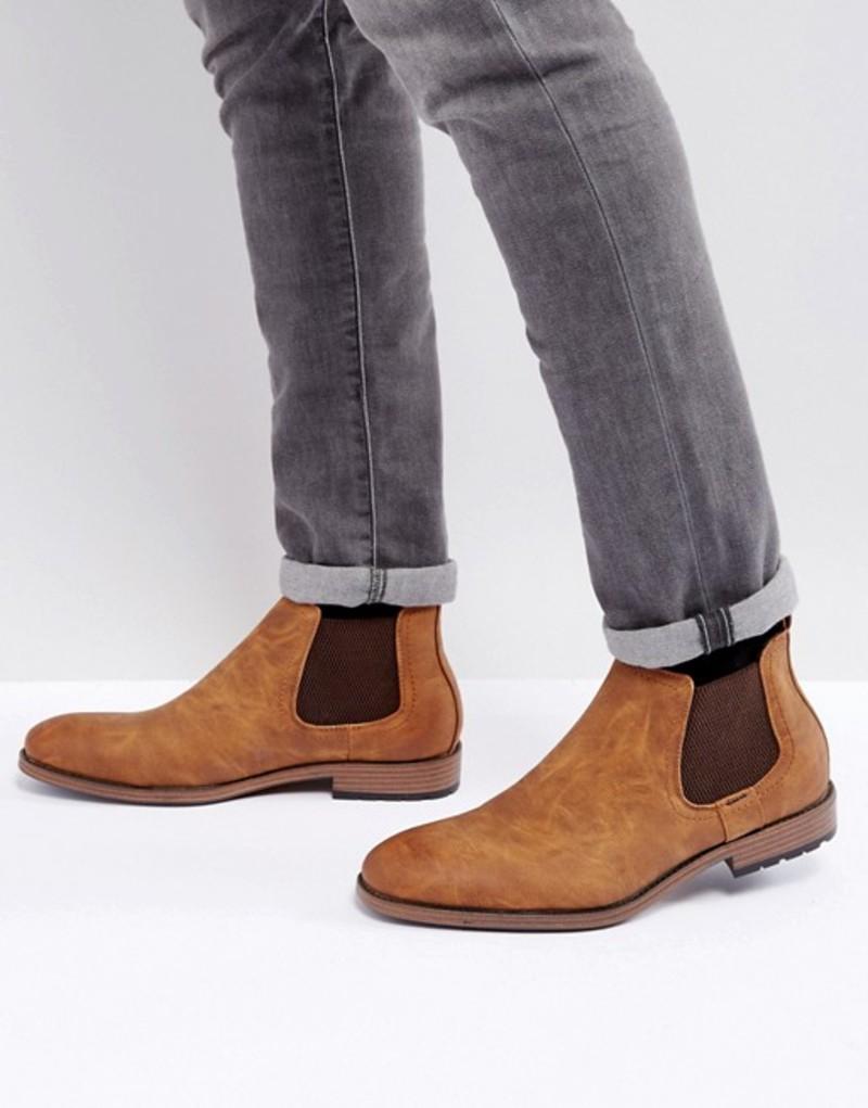 ニュールック メンズ ブーツ・レインブーツ シューズ New Look Faux Leather Chelsea Boot With In Tan Tan