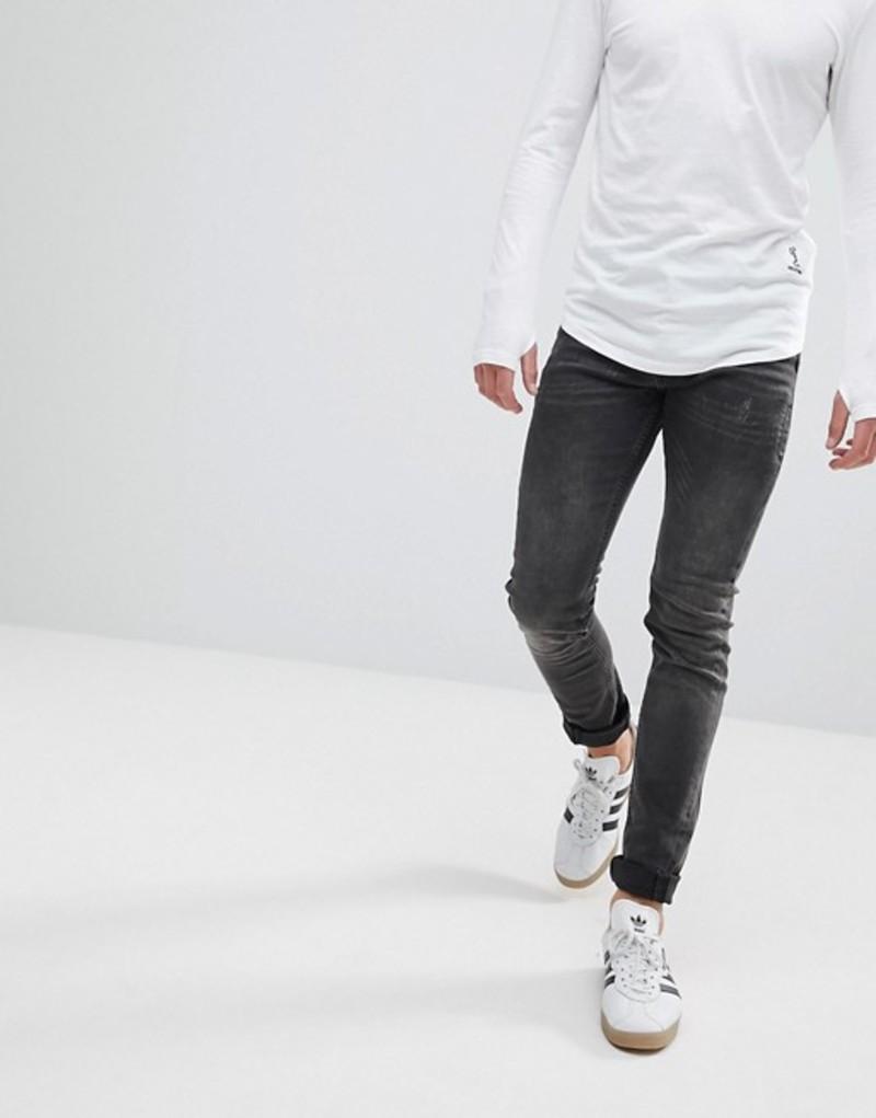 レリジョン メンズ デニムパンツ ボトムス Religion Skinny Fit Jean With Twisted Seam Washed black