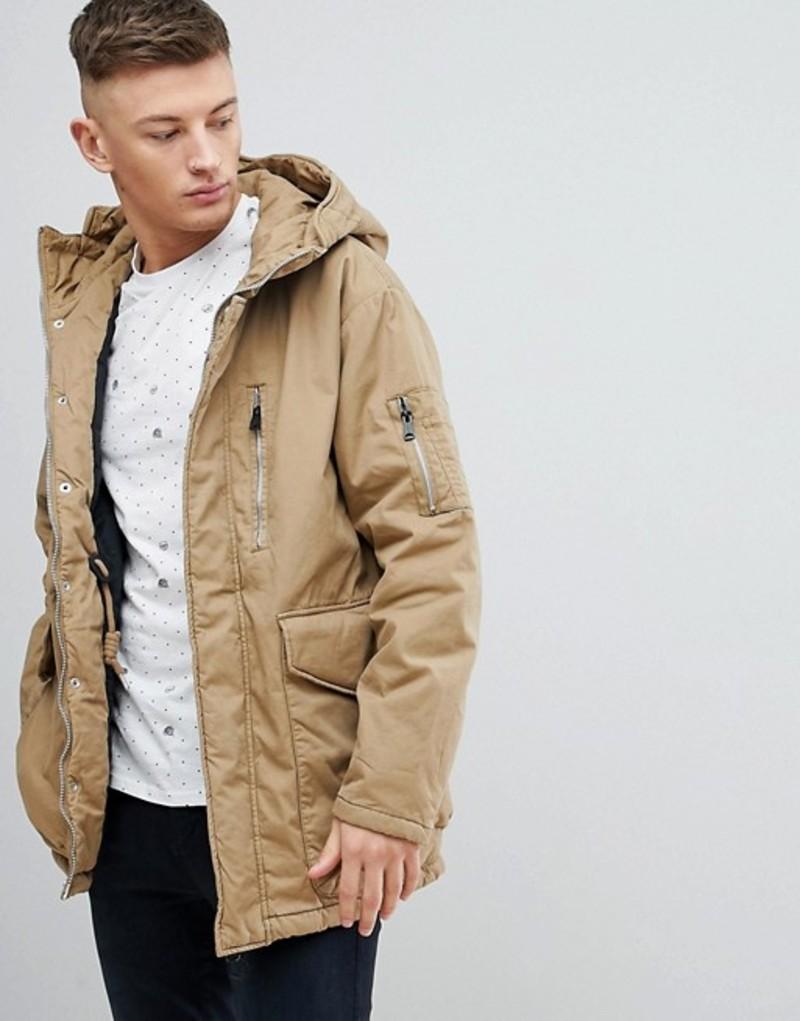 プルアンドベアー メンズ パーカー・スウェット アウター Pull&Bear Parka Puffer Hooded Jacket In Tan Tan