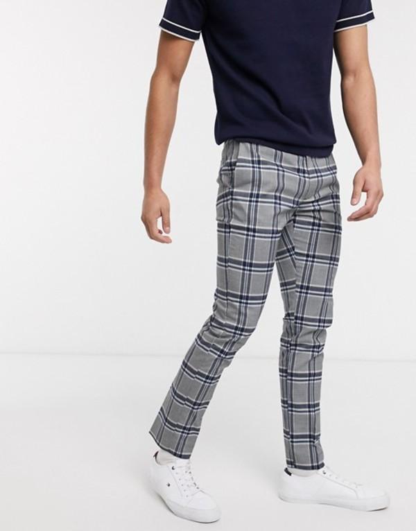 トップマン メンズ カジュアルパンツ ボトムス Topman skinny smart pants in gray check Navy