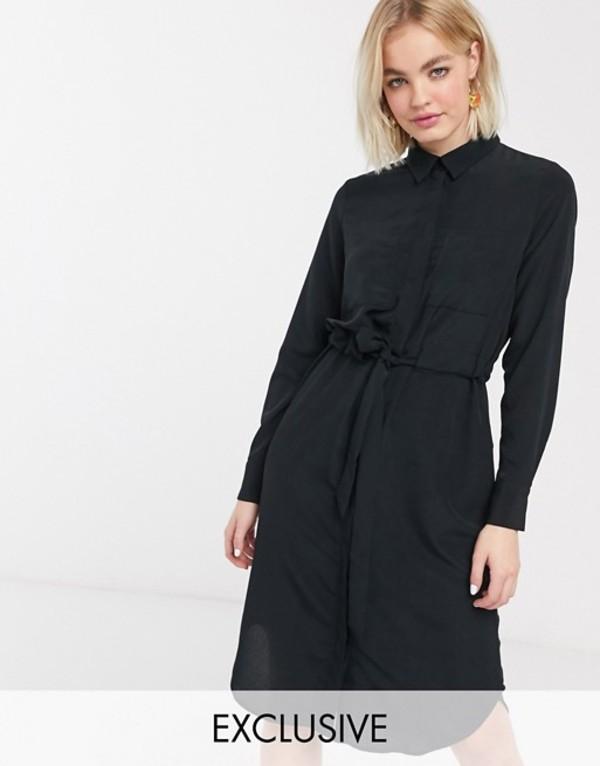 モンキ レディース ワンピース トップス Monki Felice long sleeve midi shirt dress in black Black