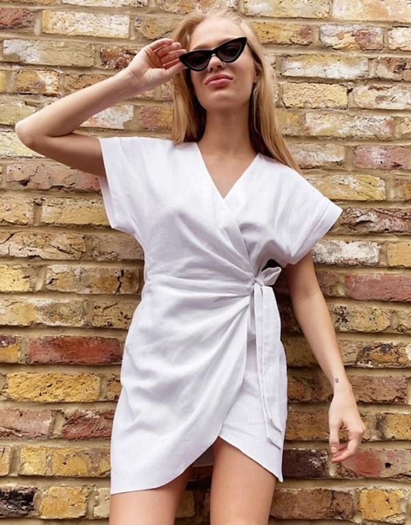 エイソス レディース ワンピース トップス ASOS DESIGN linen wrap mini dress in white White