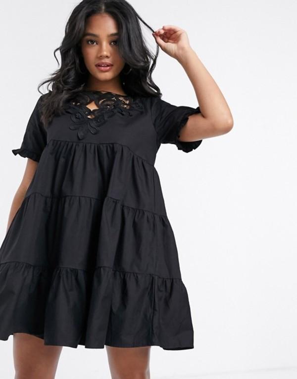ミスガイデッド レディース ワンピース トップス Missguided poplin smock dress with crochet detail in black Black