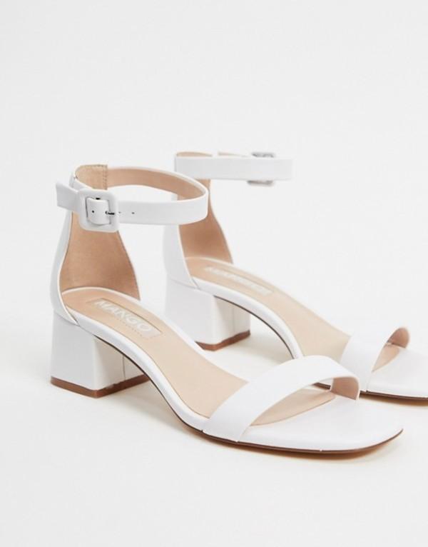 マンゴ レディース サンダル シューズ Mango kitten heel sandals in white White