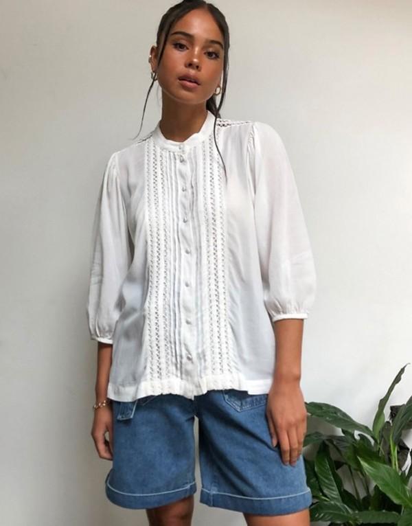 セレクティッド レディース シャツ トップス Selected Femme prairie blouse in white White