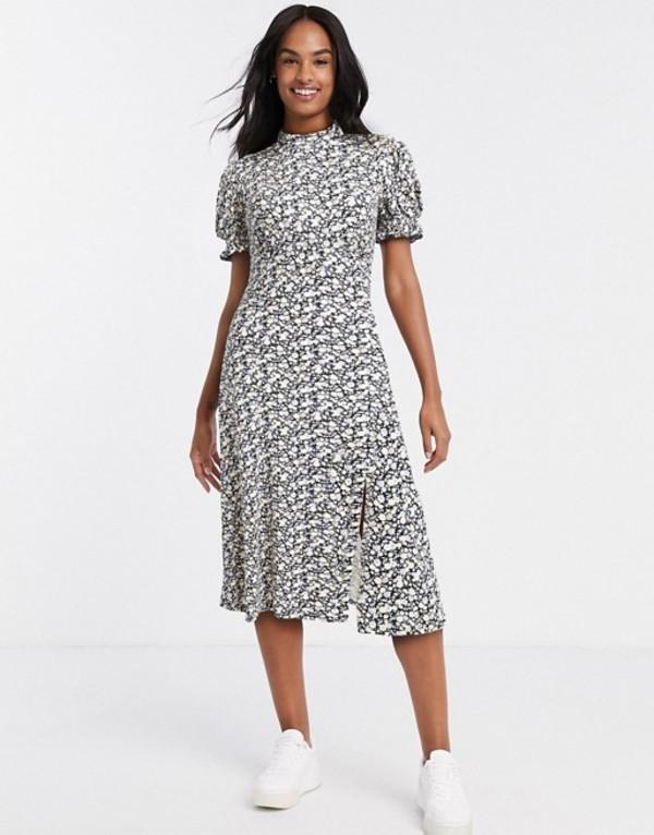 ミスセルフフリッジ レディース ワンピース トップス Miss Selfridge puff sleeve midi dress in black floral Black