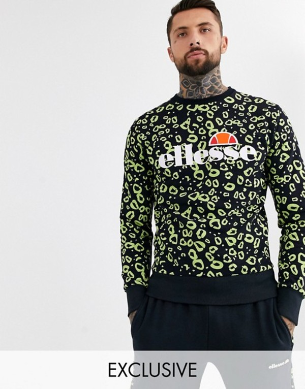 エレッセ メンズ シャツ トップス ellesse Mazza all-over print sweat in black exclusive at ASOS Black 480