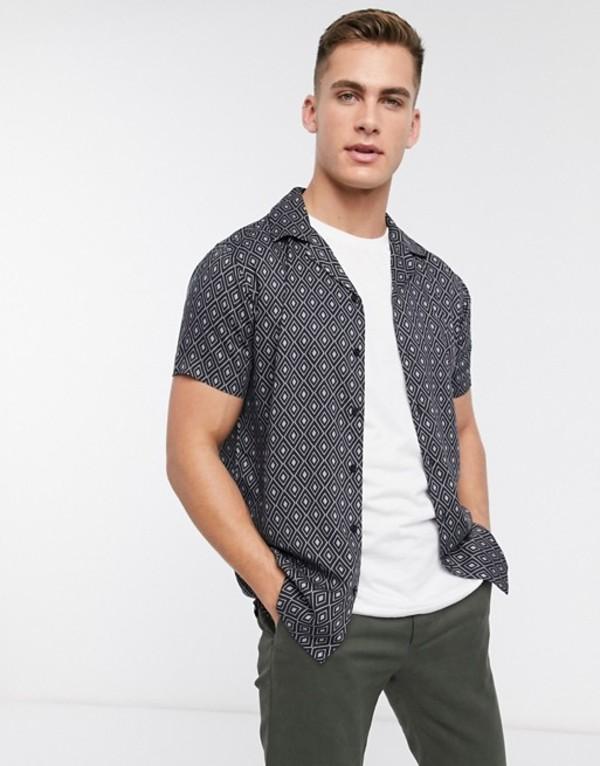 ジャック アンド ジョーンズ メンズ シャツ トップス Jack & Jones Premium revere collar short sleeve printed shirt in black Caviar