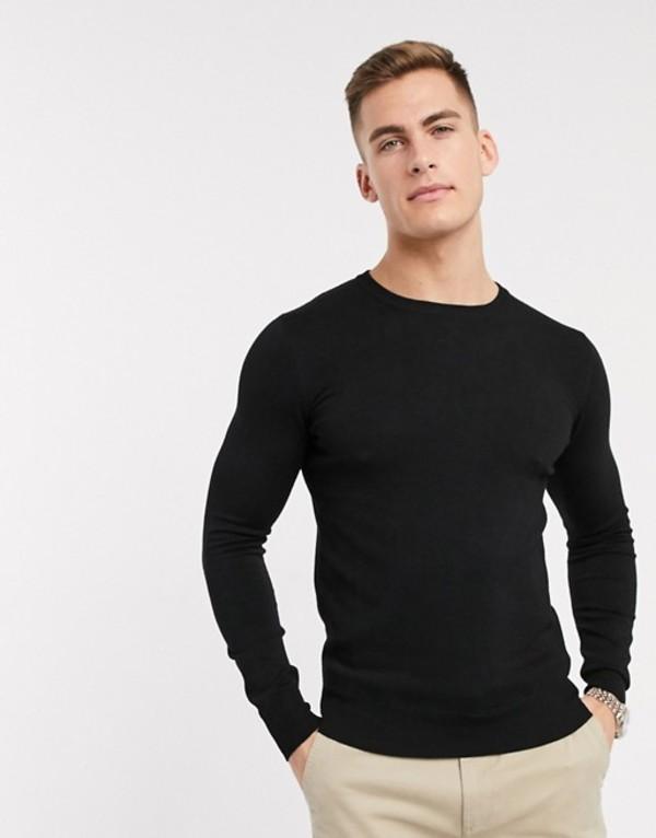 ジャンニ フェロー メンズ ニット・セーター アウター Gianni Feraud premium muscle fit stretch crew neck fine gauge sweater Black