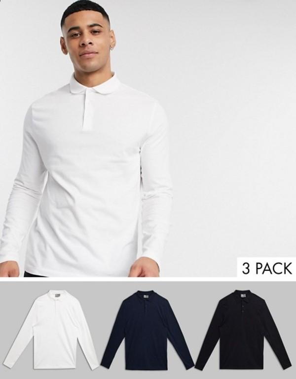 エイソス メンズ シャツ トップス ASOS DESIGN 3 pack organic long sleeve jersey polo save Black/white/navy