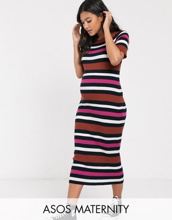 エイソス レディース ワンピース トップス ASOS DESIGN Maternity knitted stripe midi dress Multi