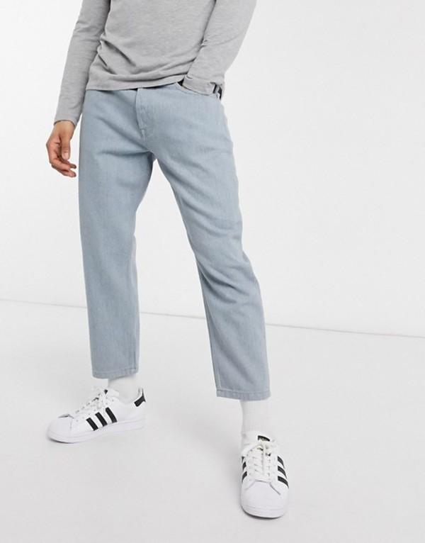 オンリーアンドサンズ メンズ デニムパンツ ボトムス Only & Sons recycled denim comfort fit cropped jeans in light blue Blue denim