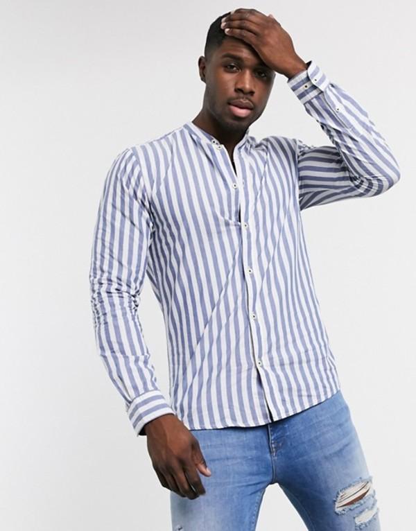 オンリーアンドサンズ メンズ シャツ トップス Only & Sons stripe grandad collar shirt in blue Dark blue