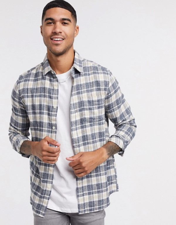 トップマン メンズ シャツ トップス Topman long sleeve check shirt in black & white Multi