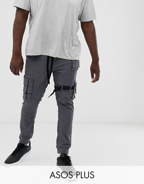 エイソス メンズ カジュアルパンツ ボトムス ASOS DESIGN Plus slim ankle grazer cargos with cuff & utility details Black