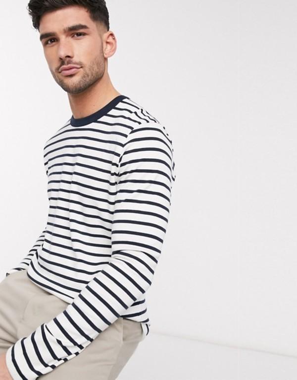 セレクテッドオム メンズ シャツ トップス Selected Homme navy striped long sleeve top Sky captain
