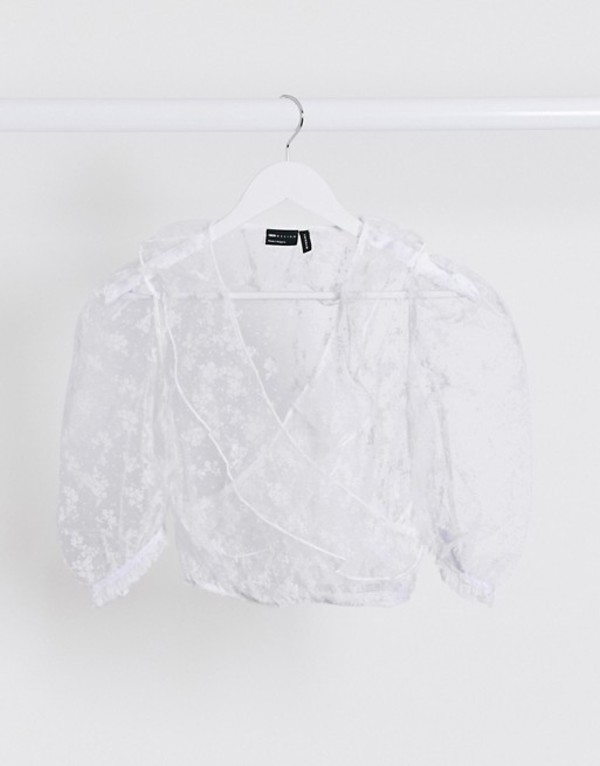 エイソス レディース シャツ トップス ASOS DESIGN organza wrap with burnout floral in white White