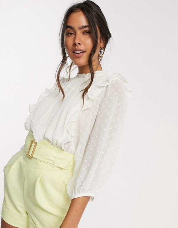 リバーアイランド レディース シャツ トップス River Island pleated frill front blouse in cream Cream