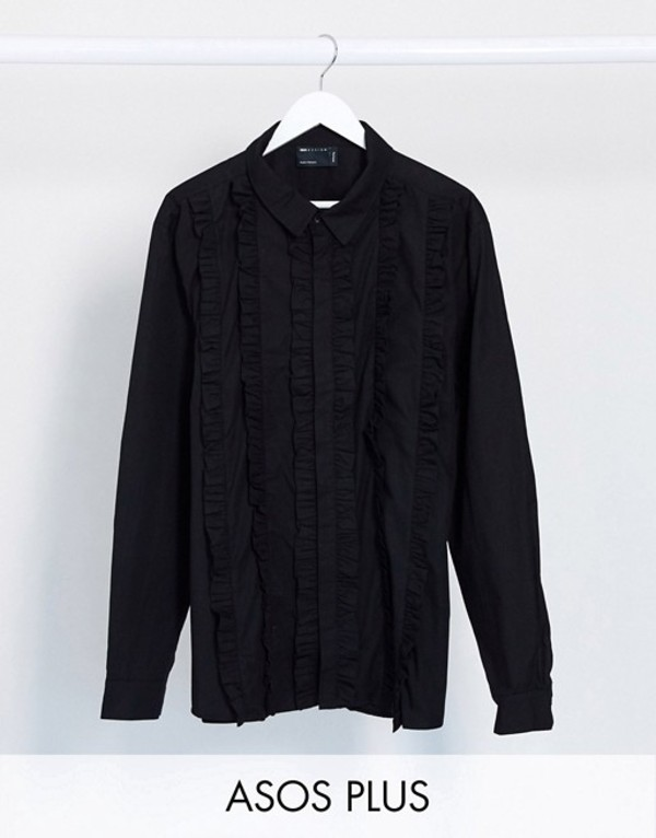 エイソス メンズ シャツ トップス ASOS DESIGN Plus regular fit shirt with extreme ruffle front in black Black