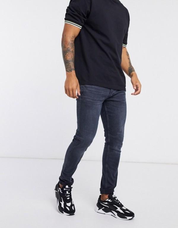 トップマン メンズ デニムパンツ ボトムス Topman stretch skinny jeans in dark blue wash Blue