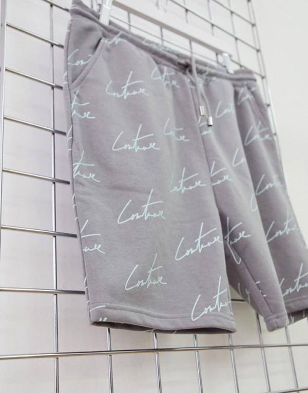 ザ クチュール クラブ メンズ ハーフパンツ・ショーツ ボトムス The Couture Club repeat signature print shorts in gray Gray
