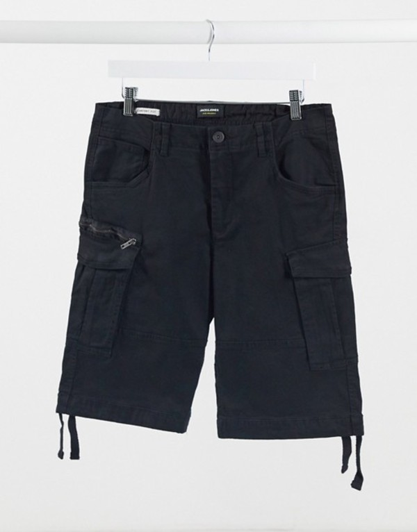 ジャック アンド ジョーンズ メンズ ハーフパンツ・ショーツ ボトムス Jack & Jones Intelligence cargo shorts in black Black