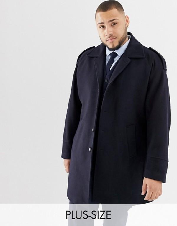 ジャンニ フェロー メンズ コート アウター Gianni Feraud Plus premium wool blend raglan trench Navy