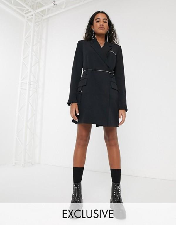 コルージョン レディース ワンピース トップス COLLUSION blazer dress with chain belt and strapping detail Black