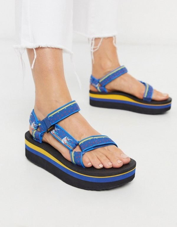 テバ レディース サンダル シューズ Teva flatform universal chunky sandals in unicorn blue Unicorn dark blue
