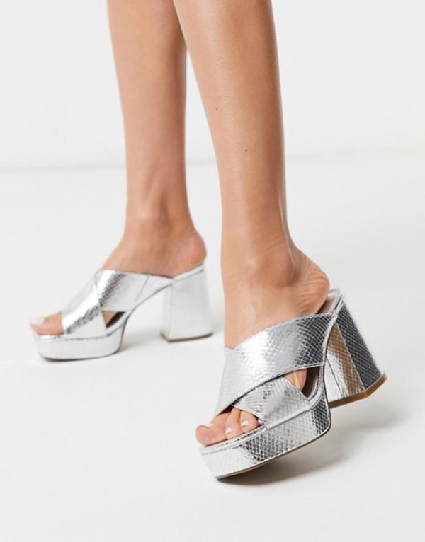 エイソス レディース サンダル シューズ ASOS DESIGN Holland platform heeled mules in silver snake Silver snake