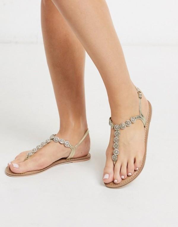 アクセサライズ レディース サンダル シューズ Accessorize Rome jewelled crystal t-bar flat sandals in gold Gold