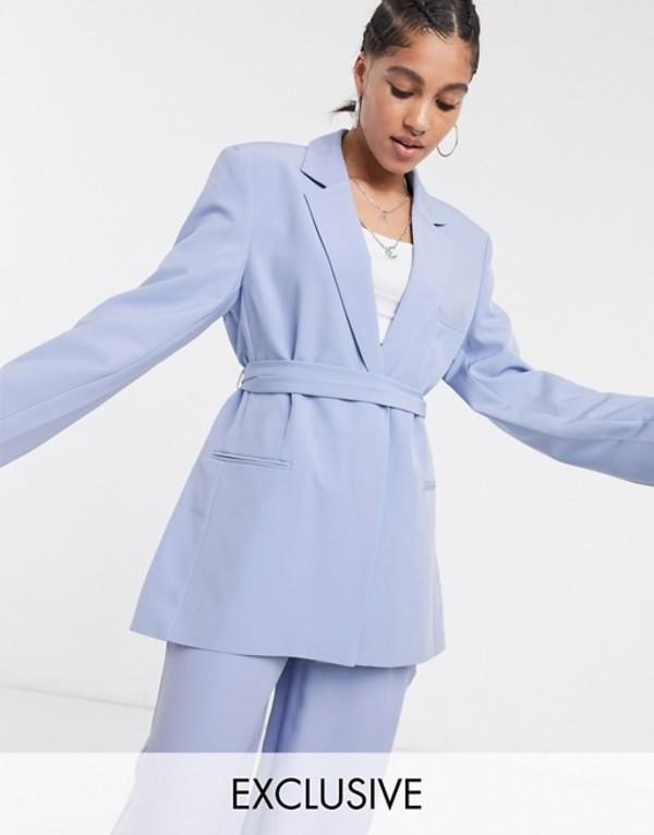 コルージョン レディース ジャケット・ブルゾン アウター COLLUSION blazer with tie waist in pastel lilac Lilac