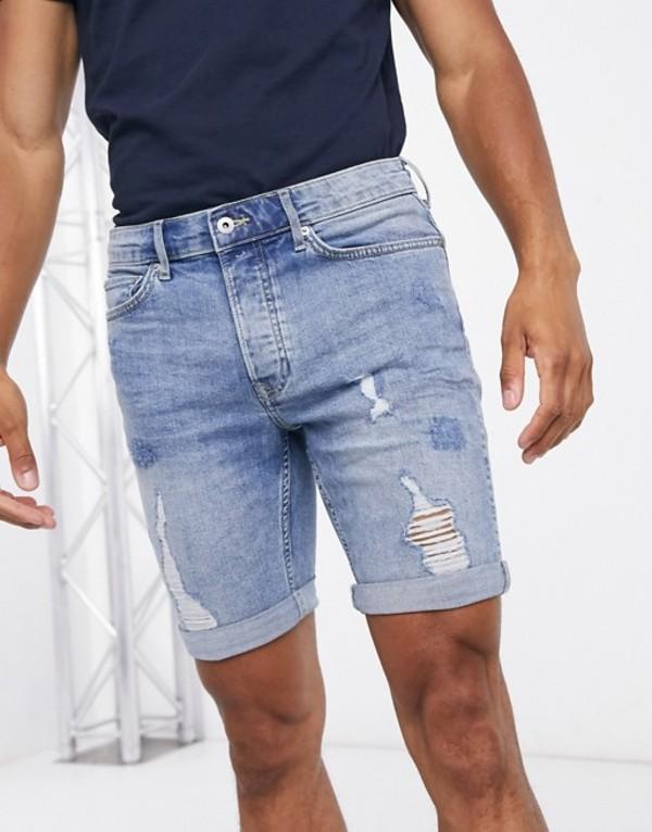 トップマン メンズ ハーフパンツ・ショーツ ボトムス Topman skinny denim shorts with rips in bleached blue Blue
