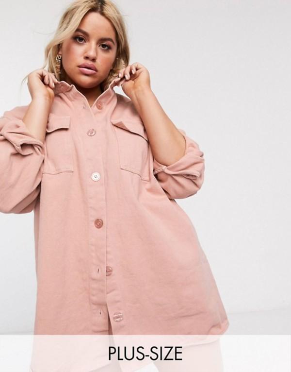 ミスガイデッド レディース シャツ トップス Missguided Plus oversized denim shirt in pink Pink