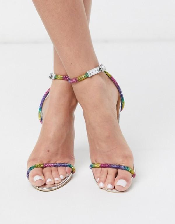 シミ レディース サンダル シューズ Simmi London Samia embellished heeled sandals in rainbow Silver mirror