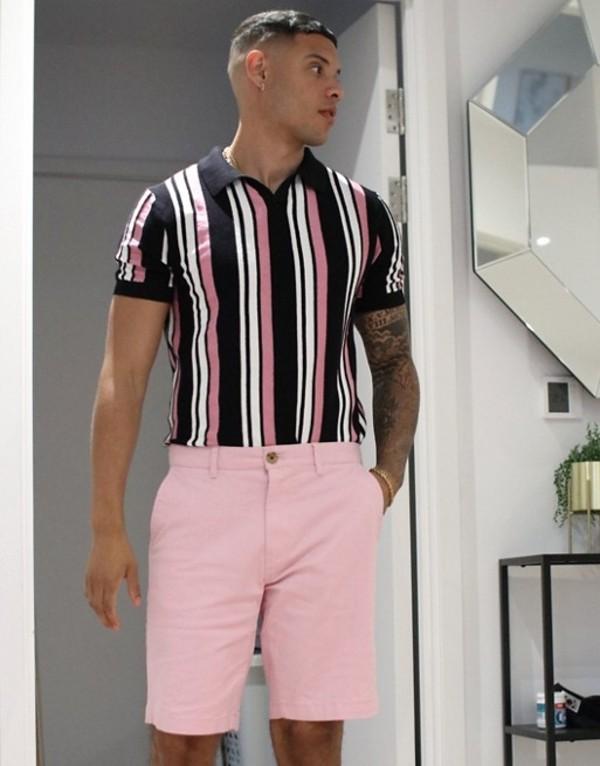 トップマン メンズ シャツ トップス Topman knitted revere polo in with stripe in black & print Black