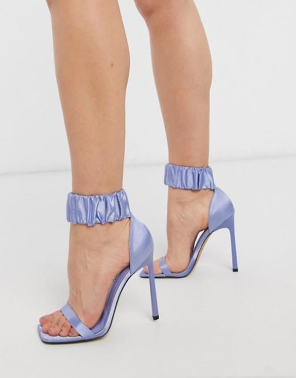 エイソス レディース サンダル シューズ ASOS DESIGN Nettie scrunchie cuff barely there heeled sandals in blue Blue satin