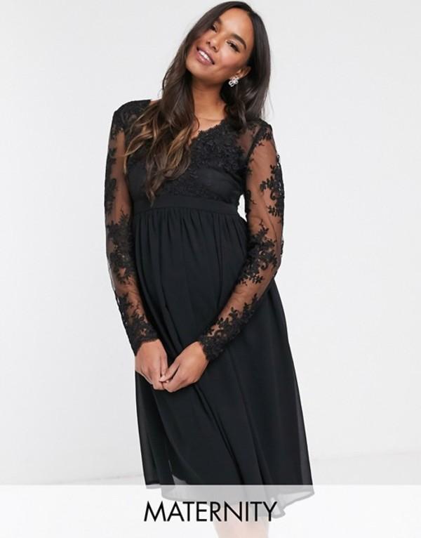 チチロンドン レディース ワンピース トップス Chi Chi London Maternity lace midi dress with sheer sleeves in black Black