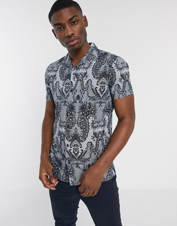 ジャック アンド ジョーンズ メンズ シャツ トップス Jack & Jones Premium revere collar short sleeve printed shirt in white White