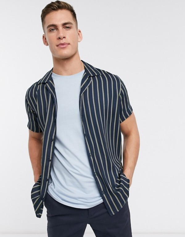 ジャック アンド ジョーンズ メンズ シャツ トップス Jack & Jones Premium revere collar short sleeve vertical stripe shirt in navy Blueberry