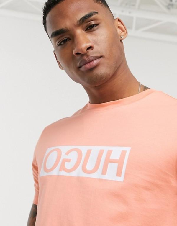 フューゴ メンズ シャツ トップス HUGO Dicagolino box logo t-shirt in peach Orange