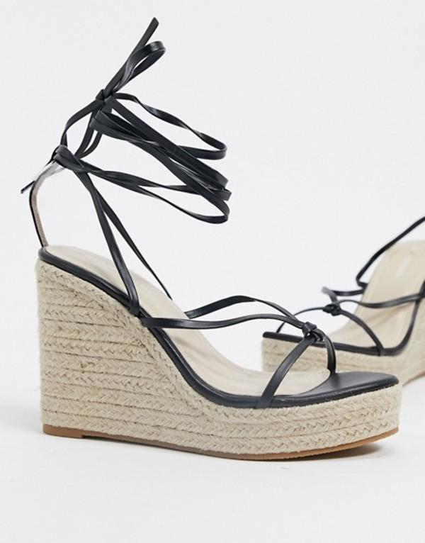 グラマラス レディース サンダル シューズ Glamorous espadrille wedge sandal with skinny ankle tie in black Black