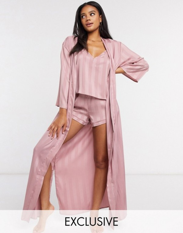 ラウンジャブル レディース コート アウター Loungeable stripe jacquard maxi kimono in pink Pink