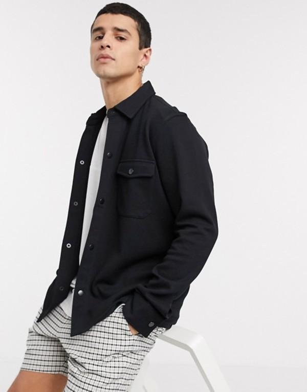セレクテッドオム メンズ ジャケット・ブルゾン アウター Selected Homme utility jacket in jersey black Black