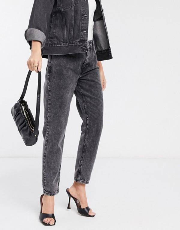 マンゴ レディース デニムパンツ ボトムス Mango washed mom jeans in black Black