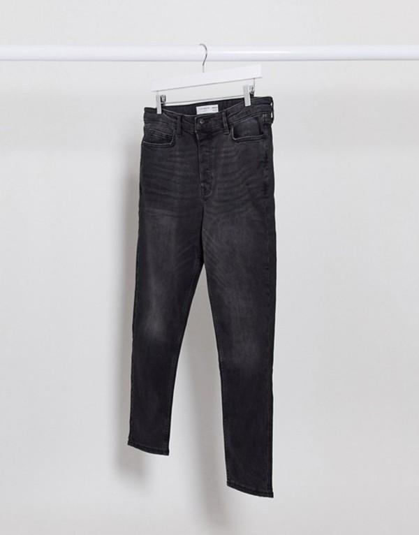 トップマン メンズ デニムパンツ ボトムス Topman tapered jeans in washed black Black