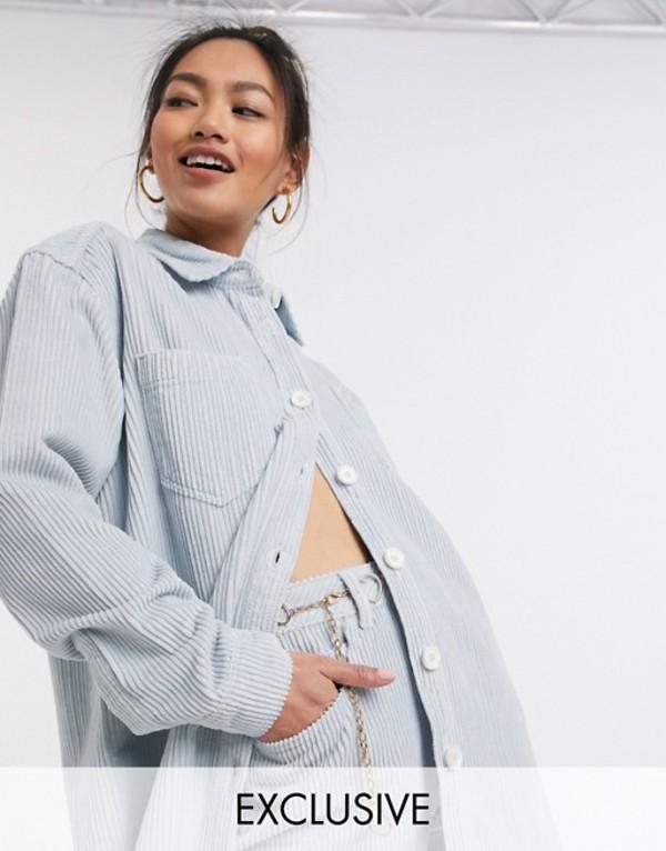 リクレイム ヴィンテージ レディース シャツ トップス Reclaimed Vintage inspired oversized cord shirt in baby blue Baby blue