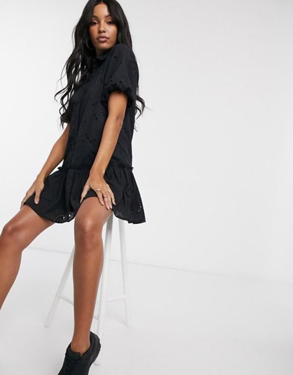 ミスガイデッド レディース ワンピース トップス Missguided broderie ruffle detail smock dress in black Black