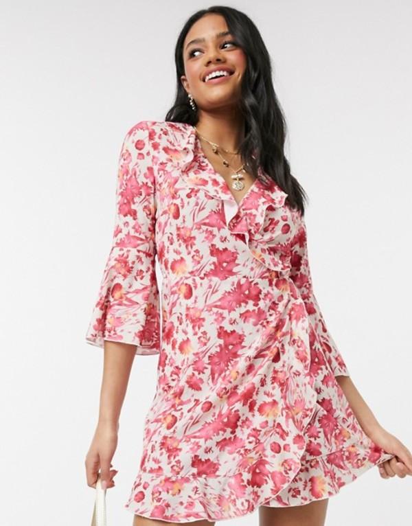 アウトレイジャスフォーチュン レディース ワンピース トップス Outrageous Fortune ruffle wrap dress with fluted sleeve in pink floral print Multi