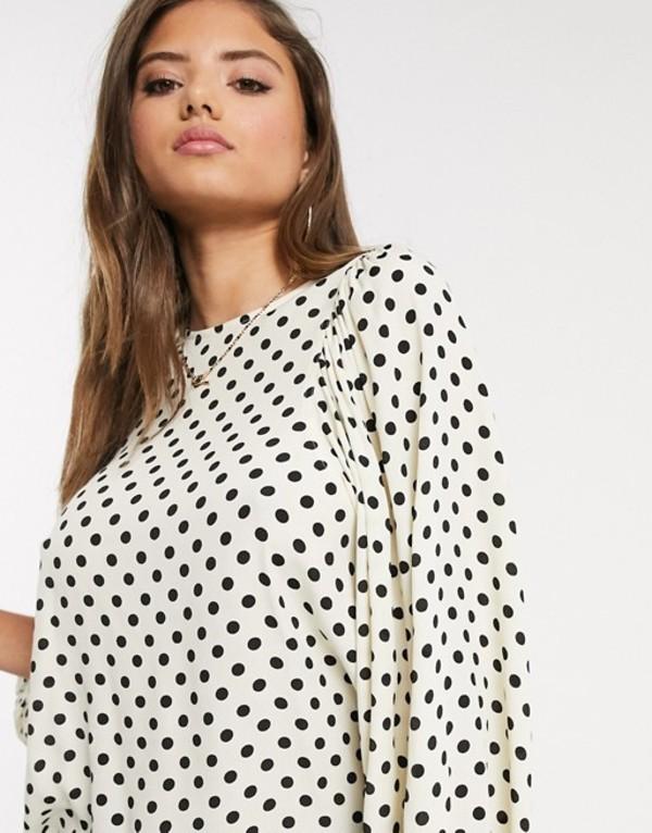 マンゴ レディース シャツ トップス Mango volume sleeve blouse in polka dot print Black